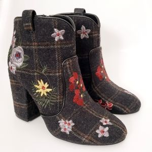 Indigo Rd Plaid Floral Embroidered Ankle Booties 7